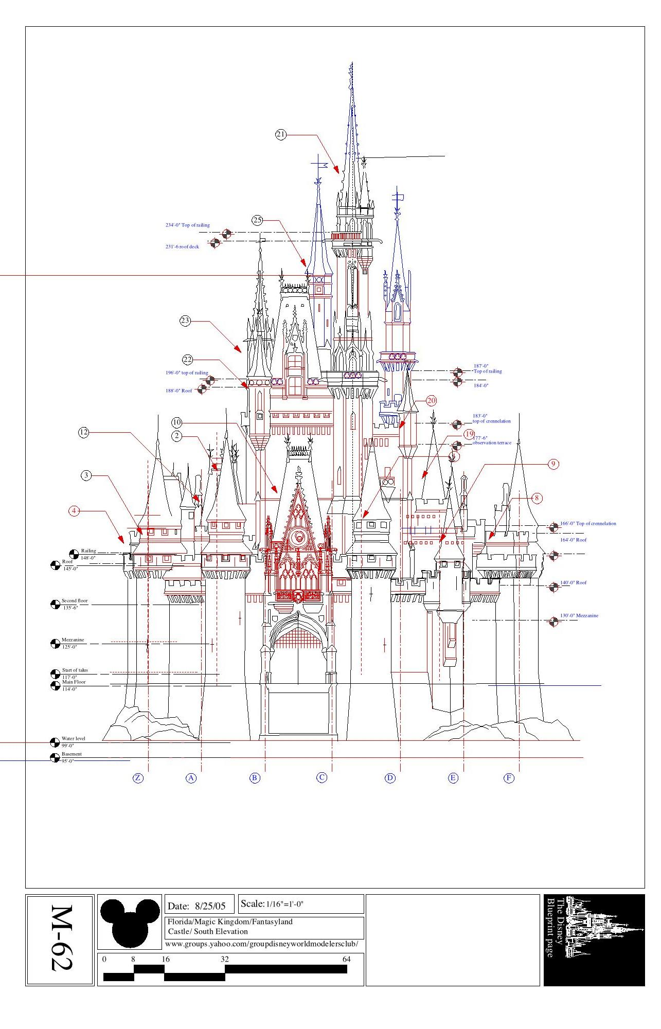 Mundo disney imagineering renders y maquetas disney for Castle blueprints and plans