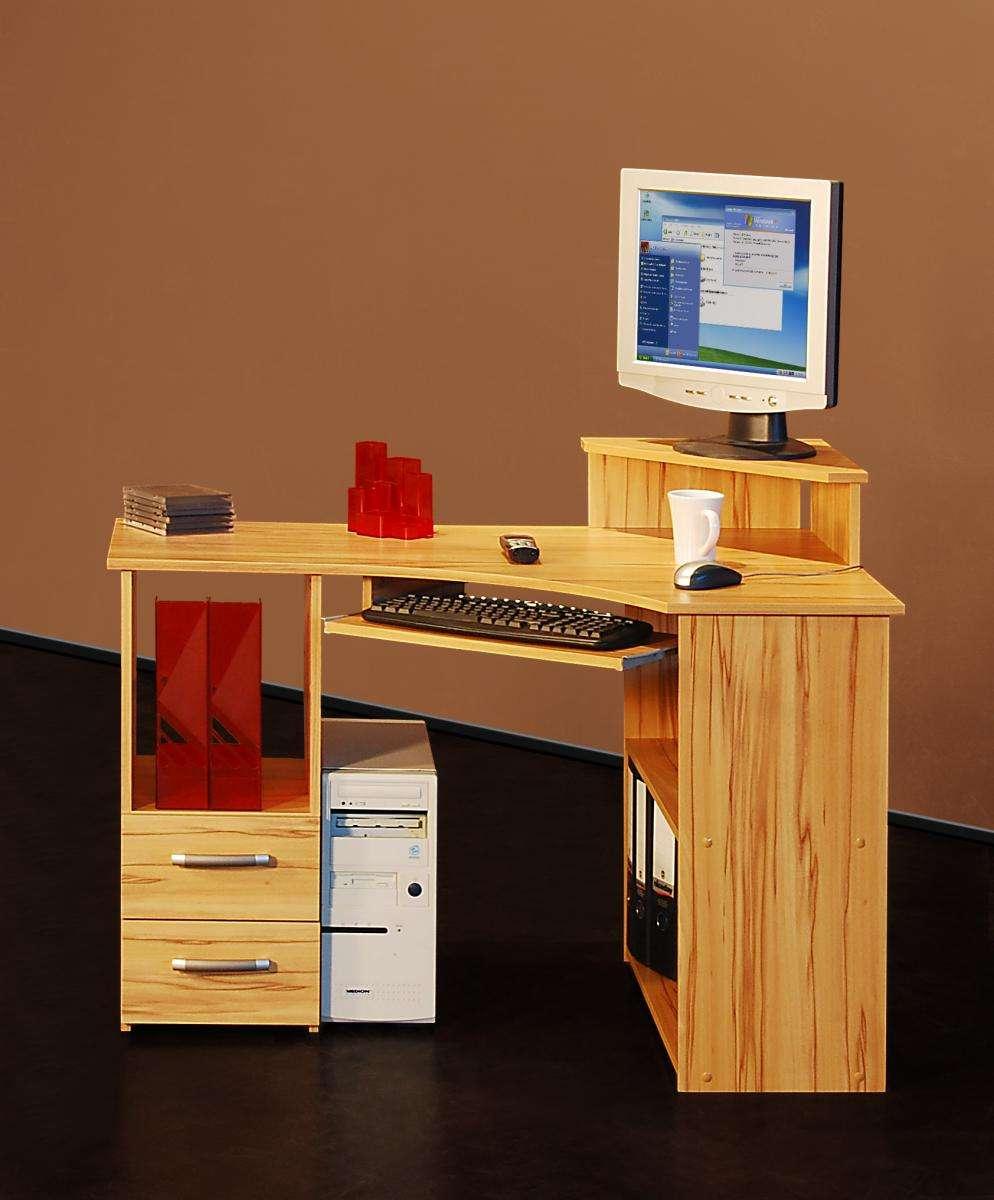 eck schreibtisch kernbuche eckschreibtisch computertisch eckl sung tisch ebay. Black Bedroom Furniture Sets. Home Design Ideas