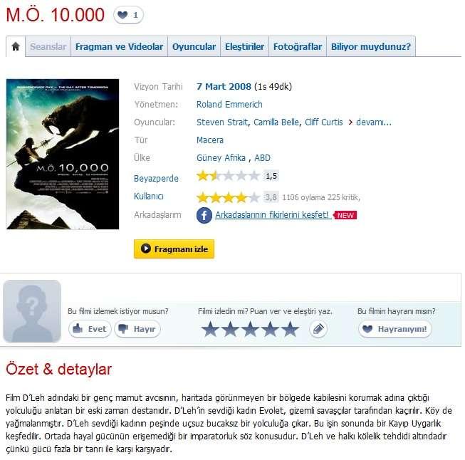 M.Ö. 10,000 - 2008 Türkçe Dublaj 480p BRRip Tek Link indir
