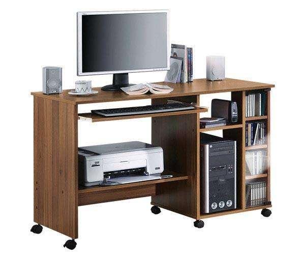 schreibtisch pc tisch computertisch walnu b rotisch. Black Bedroom Furniture Sets. Home Design Ideas